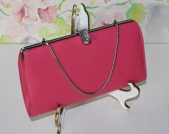 Vintage Pink Clutch with Chain, Handbag