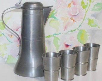 Antique WMF Pewter Flagon / Decanter and 4 Cup Set