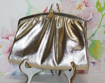 Beautiful, Vintage, Gold Clutch with Chain