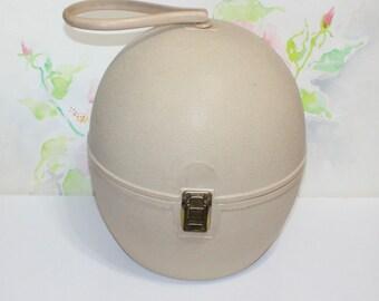 Vintage Tan Egg Shaped Wiglet Case