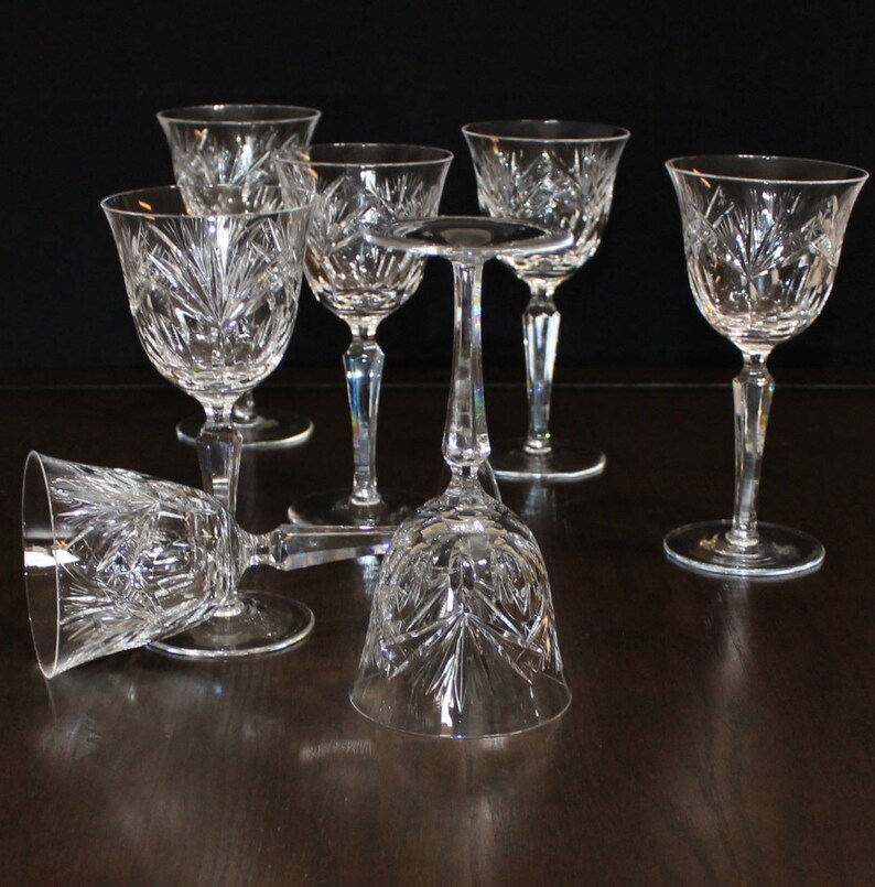 Vintage Set Of 7 Tall Cut Crystal Wine Glasses Oval Fan Etsy