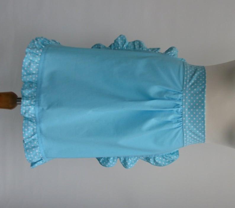 Retro frilly women/'s half apron turquoise aqua blue cotton with polkadots