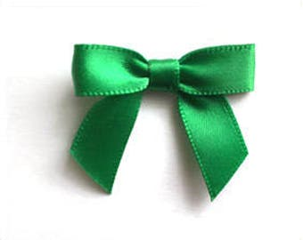 48 Mini EMERALD GREEN Satin Bows and Ribbon - Ready For Use