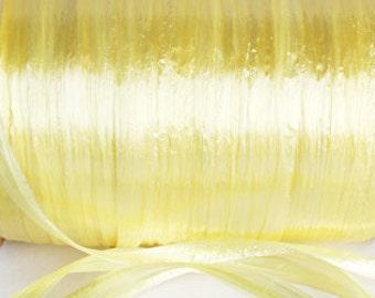 Pearl Yellow Raffia Ribbon - 30/100 yards - 1/4 inch wide