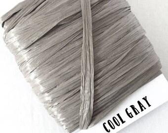 Cool Gray Raffia Ribbon - 30/100 yards - 1/4 inch wide