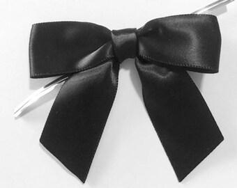 """12 BLACK - 3"""" Handmade Satin Bows"""