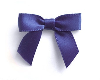 48 Mini NAVY BLUE Satin Bows - Pre-made and Ready for crafting