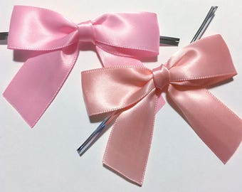 12 Baby or Blush Pink Pre-made Bow Embellishments