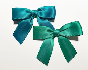 "3"" Oasis or Jade Green - 12 Handmade Bows - Doubleface Satin"