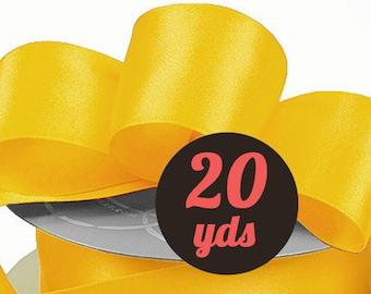 """Satin Daffodil Yellow Ribbon - 7/8"""" wide at 20 yards"""