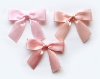 """3"""" BLUSH PINKS Pink - 12 Pre-made Satin Bows"""