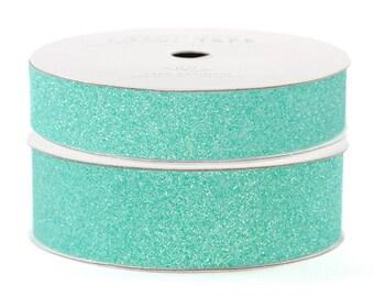 "Glitter Tape Aqua - 5/8"" or 7/8"" x 3 yds - 100% Archival"