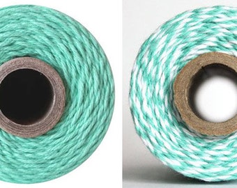 50/240yds Caribbean Aqua Teal Twine - Solid or Stripes - by The Twinery