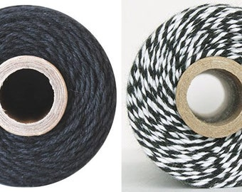 50/240yds Charcoal Black Twine - Solid or Stripes - by The Twinery