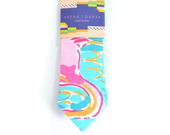 Blue and pink jungle tropic necktie - Wedding Mens Tie Skinny TROPICAL TIE flamingo Laid-Back necktie