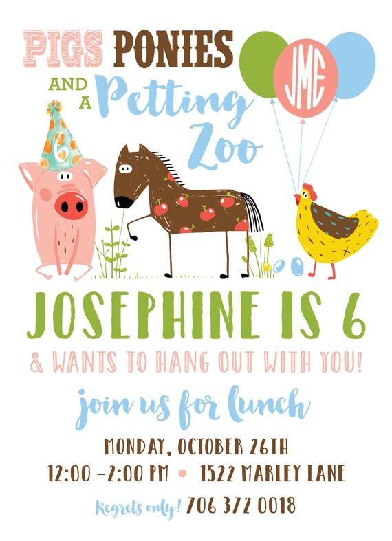 Petting Zoo Birthday Invitation Custom Party Invitations Etsy