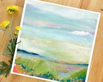 Landscape Art Print, Large Print, Colorful Abstract, from original Painting, square, clouds, sky, LNZart, Lindsay Megahed