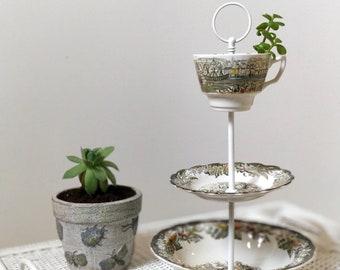 Three tiered ceramic stand