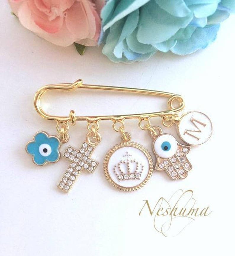 Personalised New Baby Gift Changing Bag Pram Pin Charm Christening Blessing