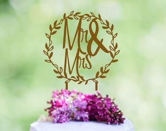 Mr and Mrs Wedding Cake Topper, Wreath Cake Topper, Wedding Cake Toppers, Last Name Cake Topper,Rustic Cake Topper, Rose GOLD Cake Topper