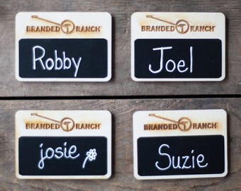 Chalkboard Name Tags, Reusable name tags, 20 Custom Work Name Tags, Business Name Tags,  Magnetic Name Tags for Restaurants, Made in the USA