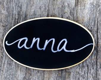 50 Oval Reusable Magnetic Name Tags, Chalkboard Name Tags, Chalkboard Name Badges for Coffee Shop, Corporate Events, Office Meetings