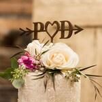 Wedding Cake Topper, Arrow Heart Cake Toppers,Bridal Shower Rustic, Outdoor, Heart, Boho,Initials, Monogram, Handmade, Barn