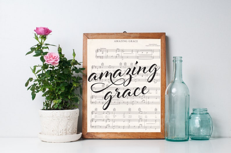 Amazing Grace Printable How Sweet the Sound Home Decor image 0
