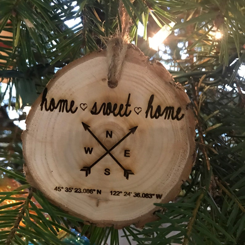 Home Sweet Home Christmas Ornament Address Coordinates Our image 0