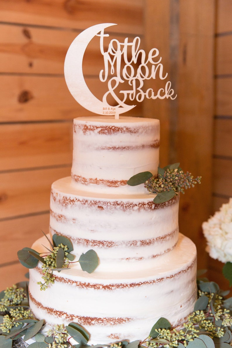 Love You To the Moon and Back Cake Topper Wedding image 0