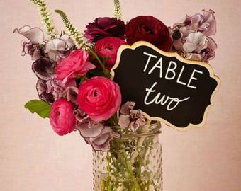 Small Chalkboard Signs for Weddings, Small Chalkboard Sign Table Numbers, BLANK Wedding Chalkboard, 4 x 6 Chalk Stakes, as seen at BHLDN