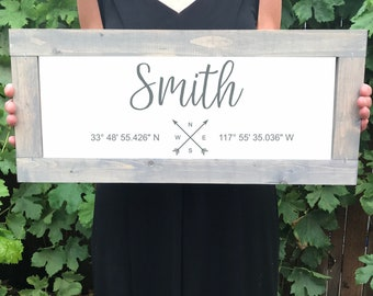 Family Name Wood Farmhouse Sign, Coordinates Home Decor Signs, Realtor Gift, Rustic Wedding Gifts, Gallery Wall Sign, Fixer Upper,Home Decor