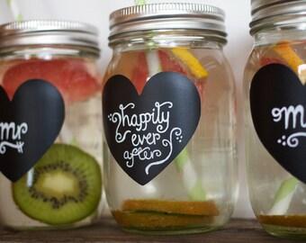 Heart Mason Jar Labels, 24 Chalkboard Stickers for Weddings, Wedding Chalkboard Labels, NON TOXIC Chalkboard Label, DIY Wedding Favors