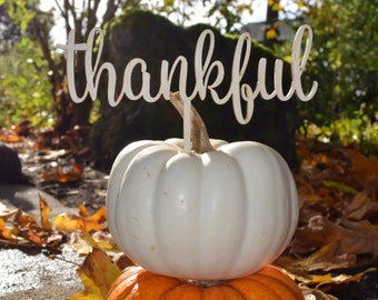 Thankful Thanksgiving decoration, Thankful cake topper, fall decor, plant marker, give thanks sign, Grateful, Blessed, Giving Thanks