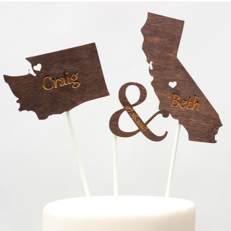 State Wedding Cake Toppers Country Cut Outs Ampersand image 0