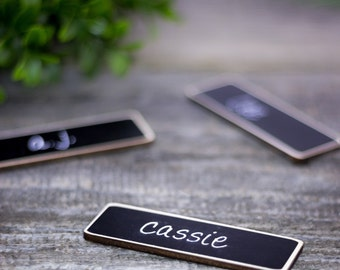 Work Name Tags, Business Name Tags, 50 Chalkboard Name Tags, Chalkboard Name Badges, Reusable Magnetic Name Tags for Corporate Events