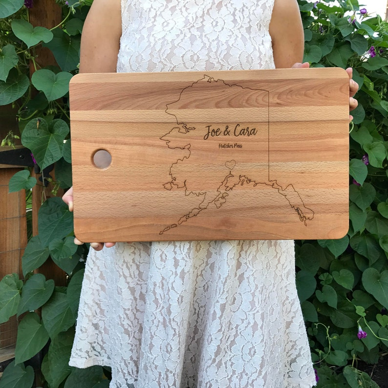 Personalized 11 x 17 Bamboo Cutting BoardState Cutting image 0