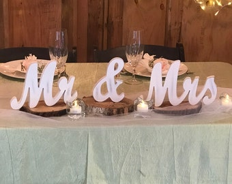 Mr and Mrs Sign, Wedding Sweetheart Table Decor, Vintage Script Wedding Reception Centerpiece, Thick Mr & Mrs Wedding Signs, CHEAP SHIPPING
