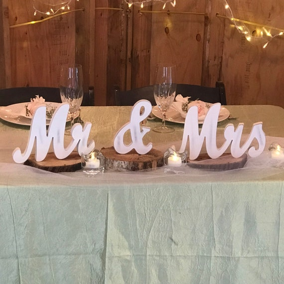 Mr And Mrs Sign Wedding Sweetheart Table Decor Vintage Script Wedding Reception Centerpiece Thick Mr Mrs Wedding Signs Cheap Shipping