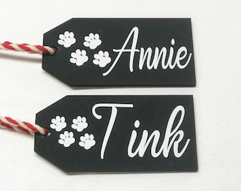 Dog Christmas Stocking Tags, Personalized gift tag, labels, Cat Present tags, Custom Name Ornament, Paw Prints, Holiday Decor