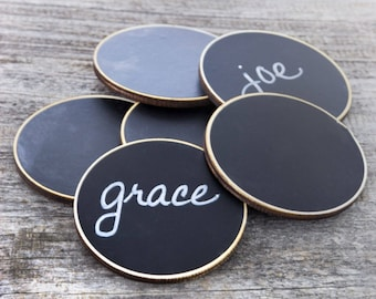 6 Circle Chalkboard Name Tags, Magnetic Name Badges for Office Meetings, Corporate Events, Wedding Chalkboard Place Cards, Coffee Shop