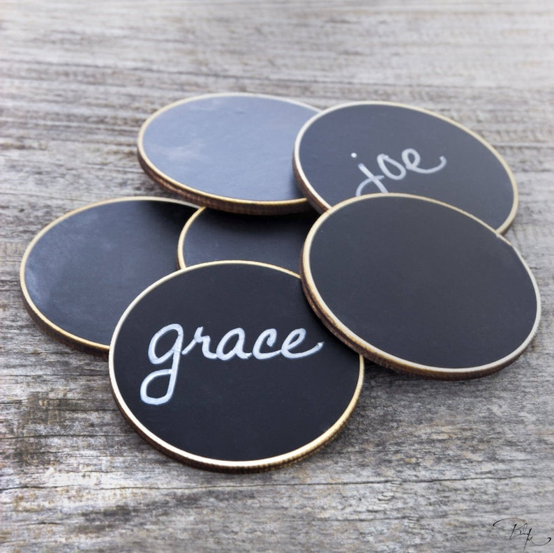 6 Circle Chalkboard Name Tags Magnetic Name Badges for Office image 0