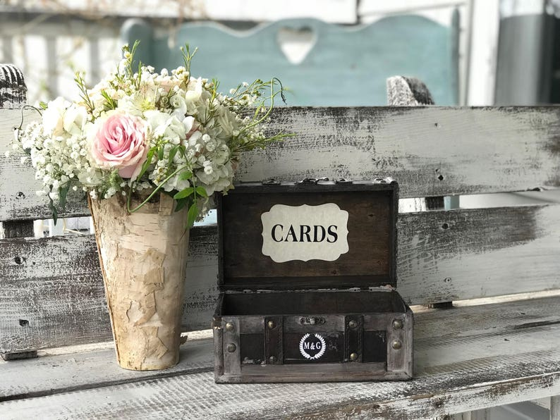 Personalized Wedding Cards Box Small Vintage Wedding Card image 0
