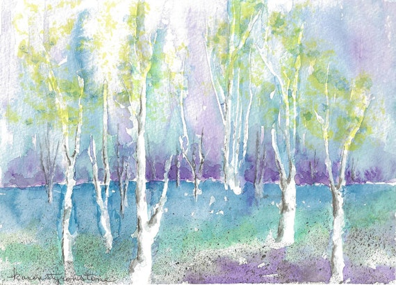 "Print of Original Watercolor   ""Pastel Birches"""