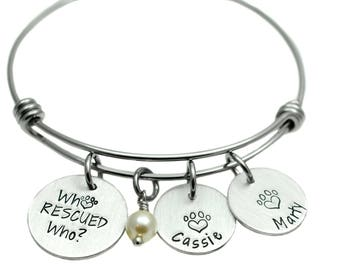 Bangle Bracelet - Pet Jewelry - Dog Lover Gift - Who Rescued Who - Pet Rescue Gift - Dog Bracelet - Charm Bracelet - Adopt Don't Shop