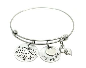 Teacher Appreciation Gift - Teacher Bracelet - Gift for Teacher - Charm Bracelet - Expandable Bangle - End of School Year Gift
