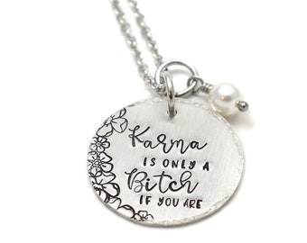 Karma is a Bitch Necklace - Handstamped Necklace - Pearl Necklace - Handstamped Jewelry