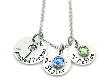 I Prayed For You Necklace - New Mom Gift - Infertility Jewelry - Hand Stamped Necklace - Mothers Day Jewelry - Dandelion Charm Necklace