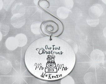 Personalized Christmas Ornament - First Christmas as Mr and Mrs - Hand Stamped Ornament - Christmas Gift for Newly Weds - Cake Topper