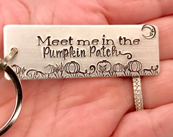 Handstamped Key Chain - Meet Me In The Pumpkin Patch - Long Distance Relationship Gift - Halloween Gift - Broomstick - Jack O Lantern